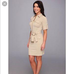Michael Kors Roll Sleeve Belted Shirt Dress